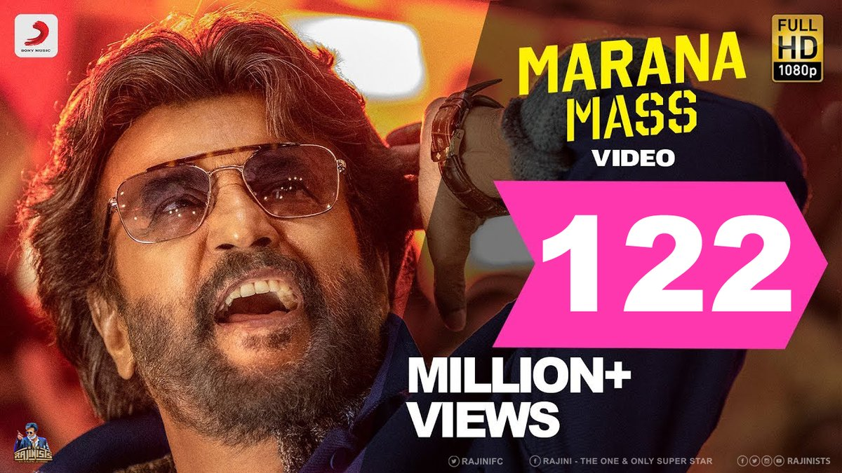Just reminder for @SonyMusicSouth to update the thumbnails of their #Petta videos. (e.g. #MaranaMass has already hit 122M views but the thumbnail has not been changed since it hit 101M views.)   #RajiniManiaOnYouTube