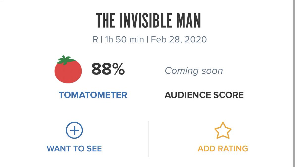 """#TheInvisibleMan critics consensus is out on reviews. It's at 89% on @RottenTomatoes. It reads : """"Smart, well-acted, and above all scary, The Invisible Man proves that sometimes, the classic source material for a fresh reboot can be hiding in plain sight."""" 👍 @UniversalIND"""
