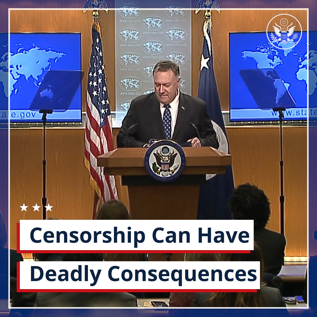 .@SecPompeo on responses to the #coronavirus in China and Iran: Censorship can have deadly consequences. All nations should tell the truth about the coronavirus and cooperate with international aid organizations.