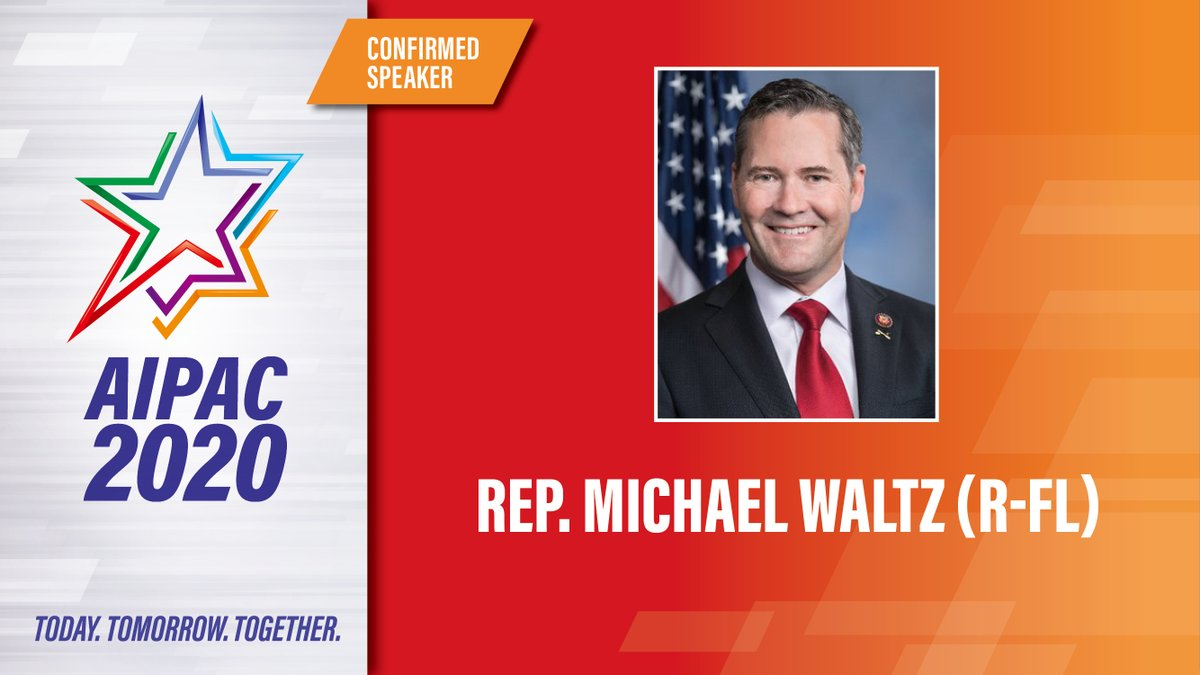 CONFIRMED ✔️: @RepMichaelWaltz will speak live at #AIPAC2020.