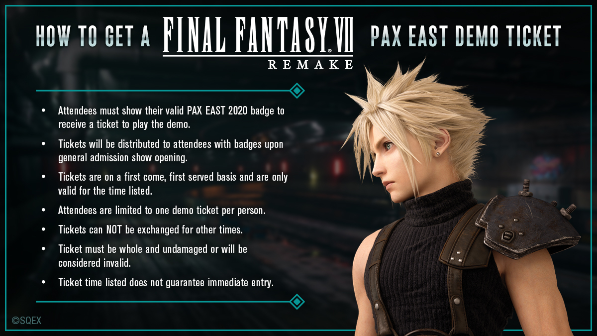If you want to get your hands on #FinalFantasy VII REMAKE at #PAXEast this weekend, get familiar with the instructions here and head down to booth #12011! #FF7R