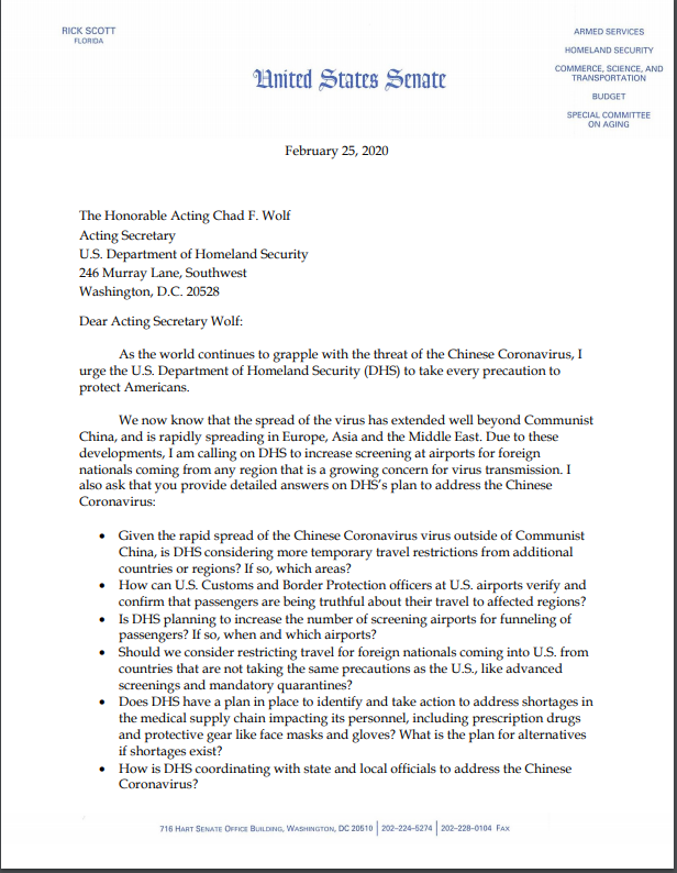The threat of the #Coronavirus has spread well beyond Communist China.  Today, I sent a letter to @DHSgov Acting Secretary Chad Wolf requesting info on the agency's plan to address the outbreak and increased screenings at airports.