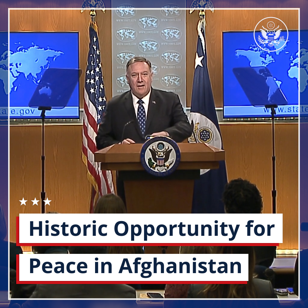.@SecPompeo on #Afghanistan: We've arrived at a historic opportunity for peace.