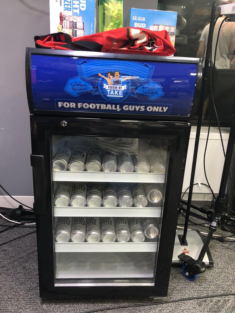 New addition to the studio:  A Pardon My Take customized mini fridge thanks to @budlight.   #ForFootballGuysOnly