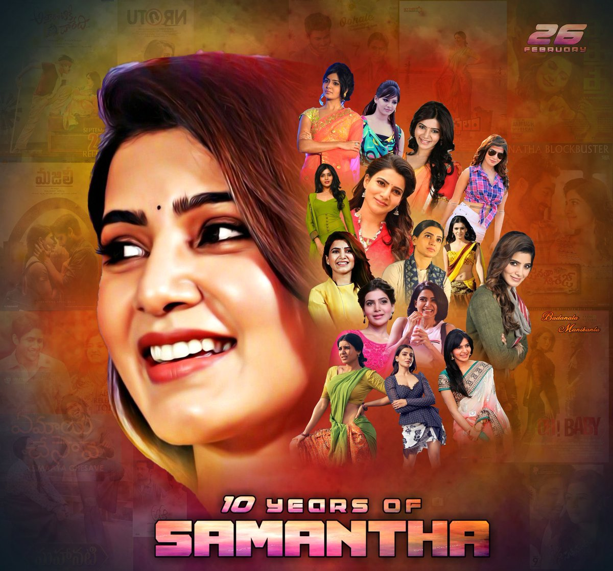 """#10yearsofsamantha  """"WORK HARD in silence. Let your SUCCESS be your Noice."""" These lines suits perfectly for talented actress @Samanthaprabhu2  Glad working with u for #Dookudu #AlluduSeenu & #OhBaby movies. Congratulations on completing 10 yrs in Films💐 #10YearsForSamanthaMania"""