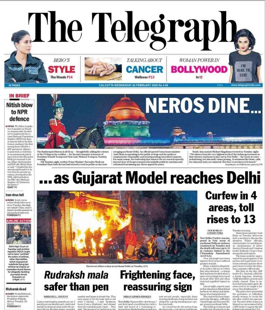 Gujarat Model reaches Delhi. Front page of @ttindia nails it once again. #DelhiRiots