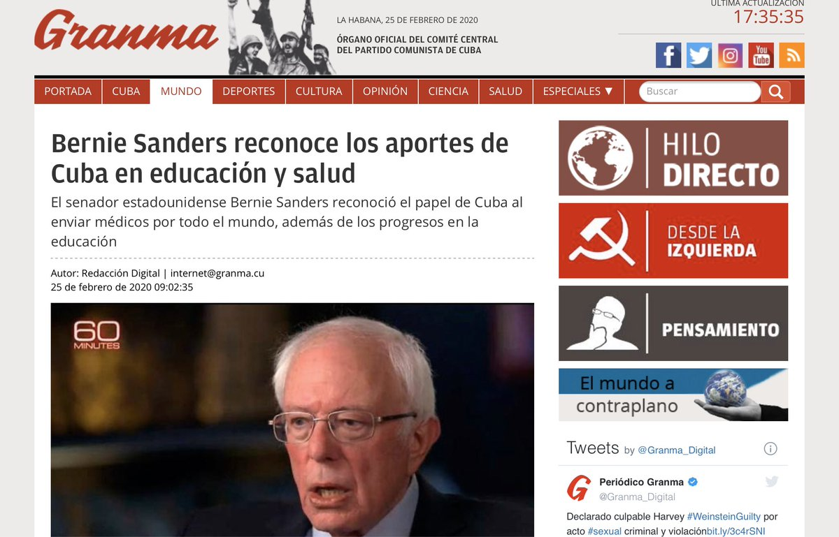"""The likely Democratic Presidential nominee is getting very positive media coverage today.... ..............in the official """"newspaper"""" of the Cuban Communist Party."""