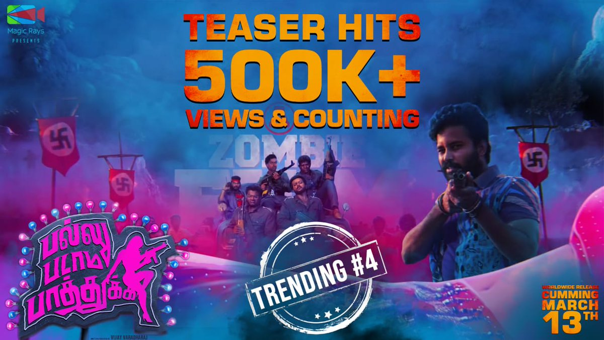 The 'A' exciting #PPPteaser has gone viral, as expected 👍 500k+ Organic views & Trending #4 On @YouTube   ➡   #PPP releasing on March 13th