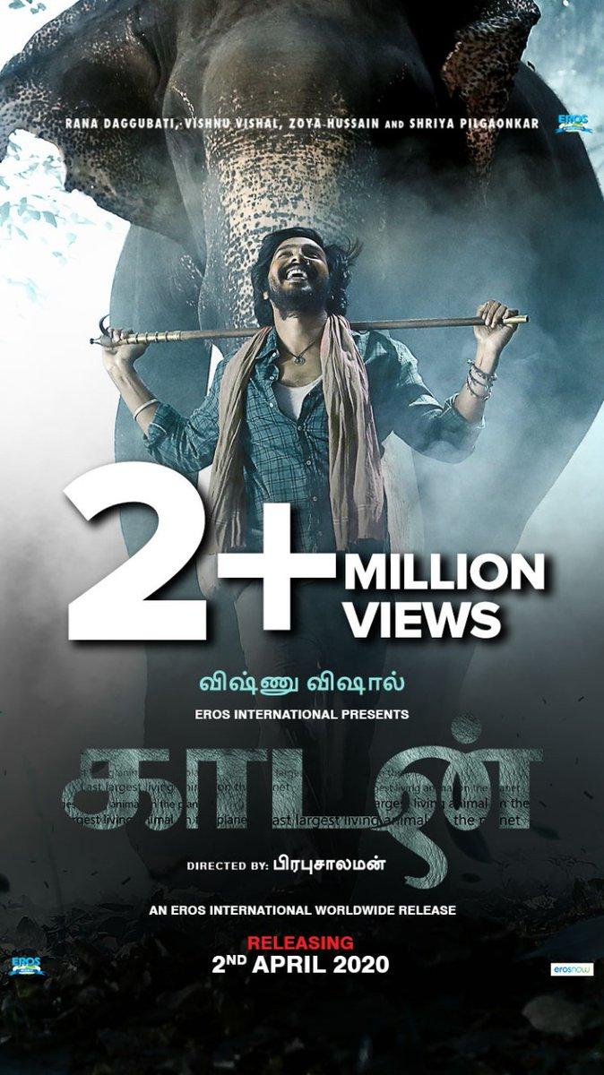The teaser of #Kaadan has now gone past 2 million views on YouTube👌 Exciting and important film on the way, this summer   ▶   @TheVishnuVishal @RanaDaggubati #PrabuSolomon #KaadanTeaser