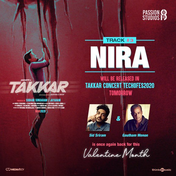 #Takkar 3rd song #Nira will be released in Takkar Concert TECHOFES2020 tomorrow.  @Actor_Siddharth @iYogiBabu @itsdivyanshak @Karthik_G_Krish @RjVigneshkanth @nivaskprasanna @editorgowtham @thinkmusicindia @Donechannel1 @CtcMediaboy
