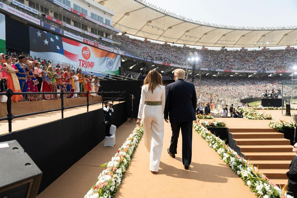 """""""Melania and I have been awed by the majesty of India and the exceptional kindness and generosity of the Indian people. We'll always remember the magnificent welcome the citizens of your home state showed us upon arrival."""""""