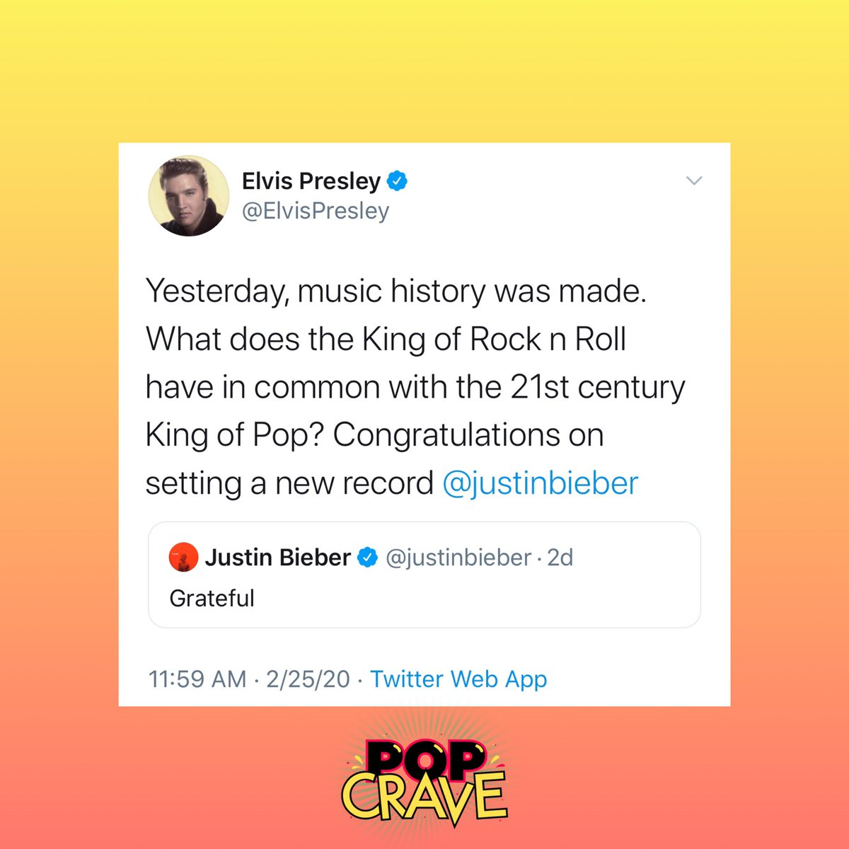 .@ElvisPresley's Twitter account congratulates @JustinBieber on breaking his record for most #1 albums before age 25.