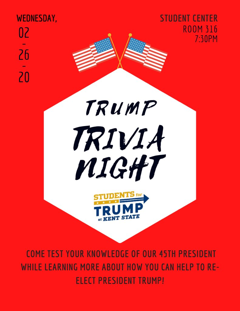 Join us tonight in room 316 of the Student Center to test your knowledge of our 45th President! Can't wait to see you there, patriots!🇺🇸 #LeadRight #StudentsforTrump #SFT