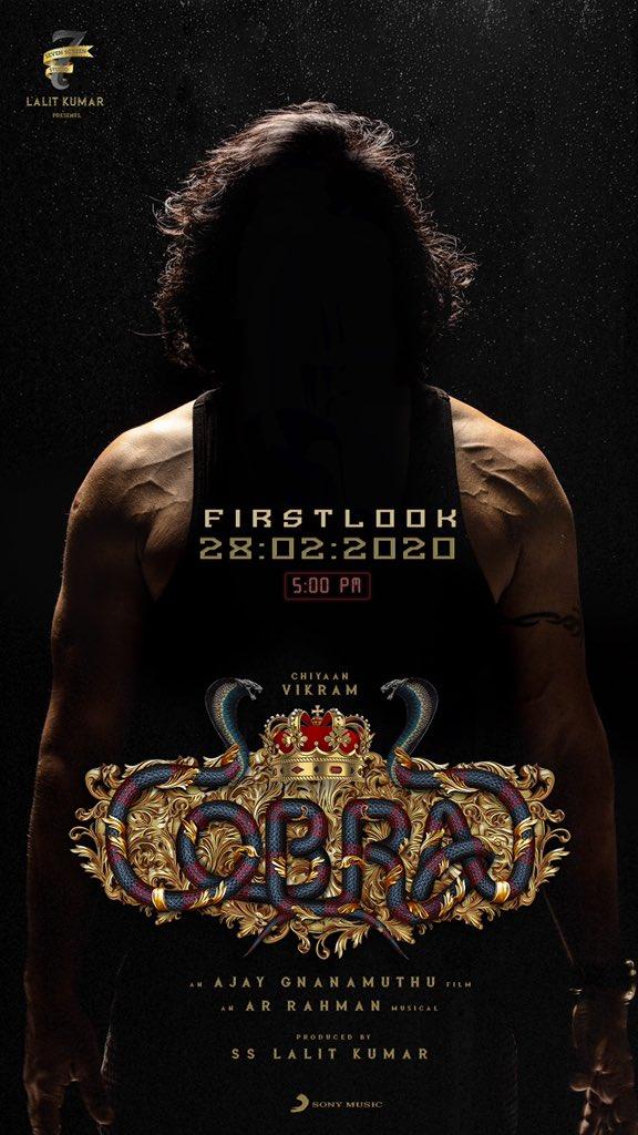 First Look of #chiyaan #Cobra on FEBRUARY 28th 5PM!! @AjayGnanamuthu @Lalit_SevenScr @7screenstudio @arrahman @IrfanPathan @SrinidhiShetty7 @Harishdop @theedittable @proyuvraaj @sooriaruna