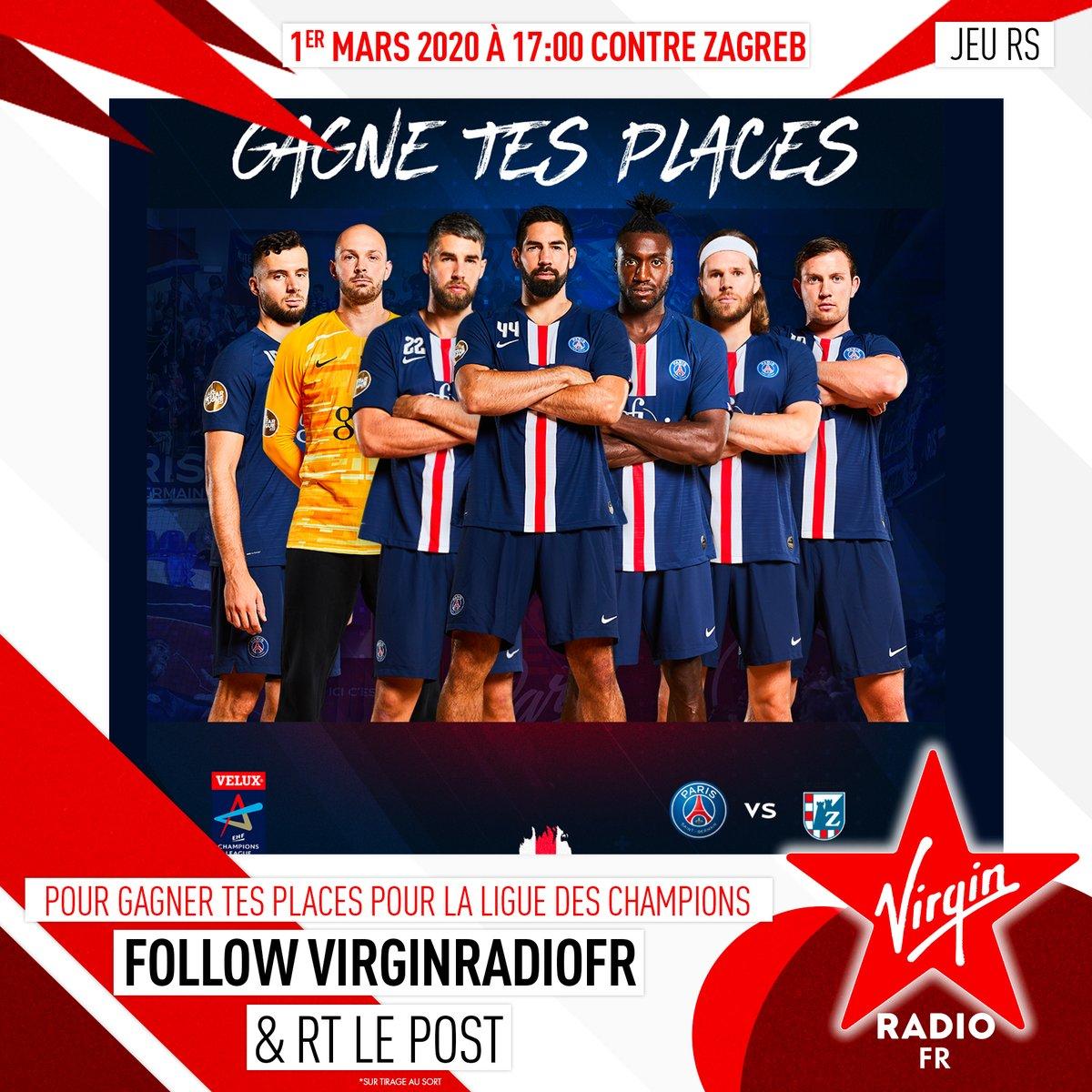 **CONCOURS** 🍀 Follow @VirginRadiofr + RT ce tweet pour tenter de GAGNER tes PLACES pour le MATCH de Handball 🤾♂ Ligue Des Champions 🏆 @psghand VS @RKZagreb ce dimanche 1 mars au Stade Pierre De Coubertin