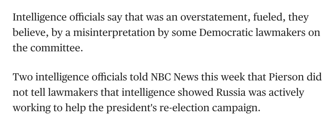 Democratic lawmakers misinterpreting intelligence and leaking it to the New York Times seems like a pretty big story to me.