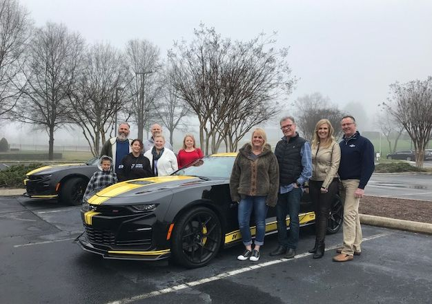 Our 5 Ultimate Ride Sweepstakes finalists: Dion, Gina, Phillip, Steven and Tamra are at @TeamHendrick for a behind the scenes tour before we find out who drives away with our Custom Camaro SS later today. #HertzCamaro