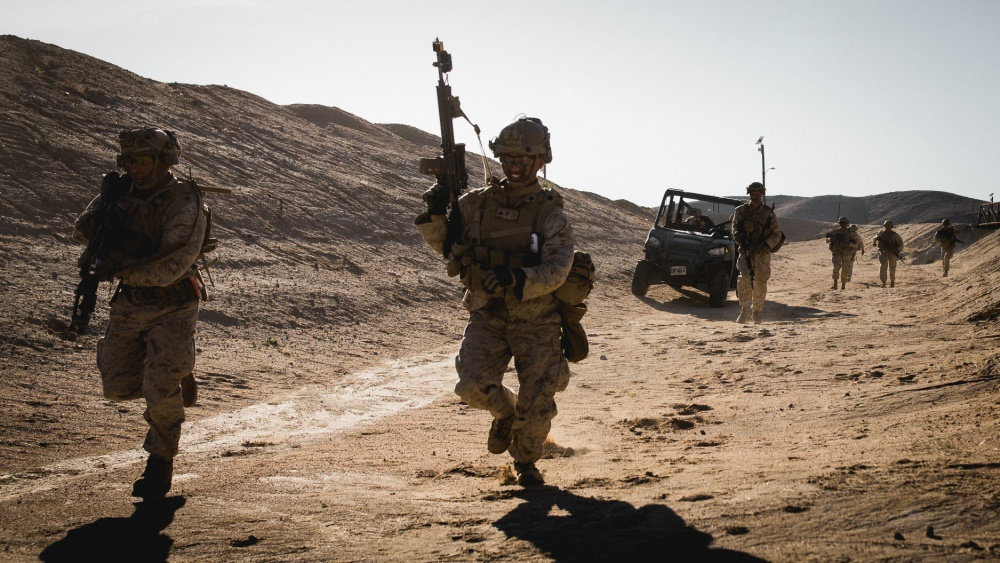 U.S. @PacificMarines with 1st Battalion, 4th Marine Regiment, @1st_Marine_Div patrol during Marine Air Ground Task Force Warfighting Exercise 2-20 #MWX20 at @CombatCenterPAO. #Readiness #Training #Lethality #FreeandOpenIndoPacific