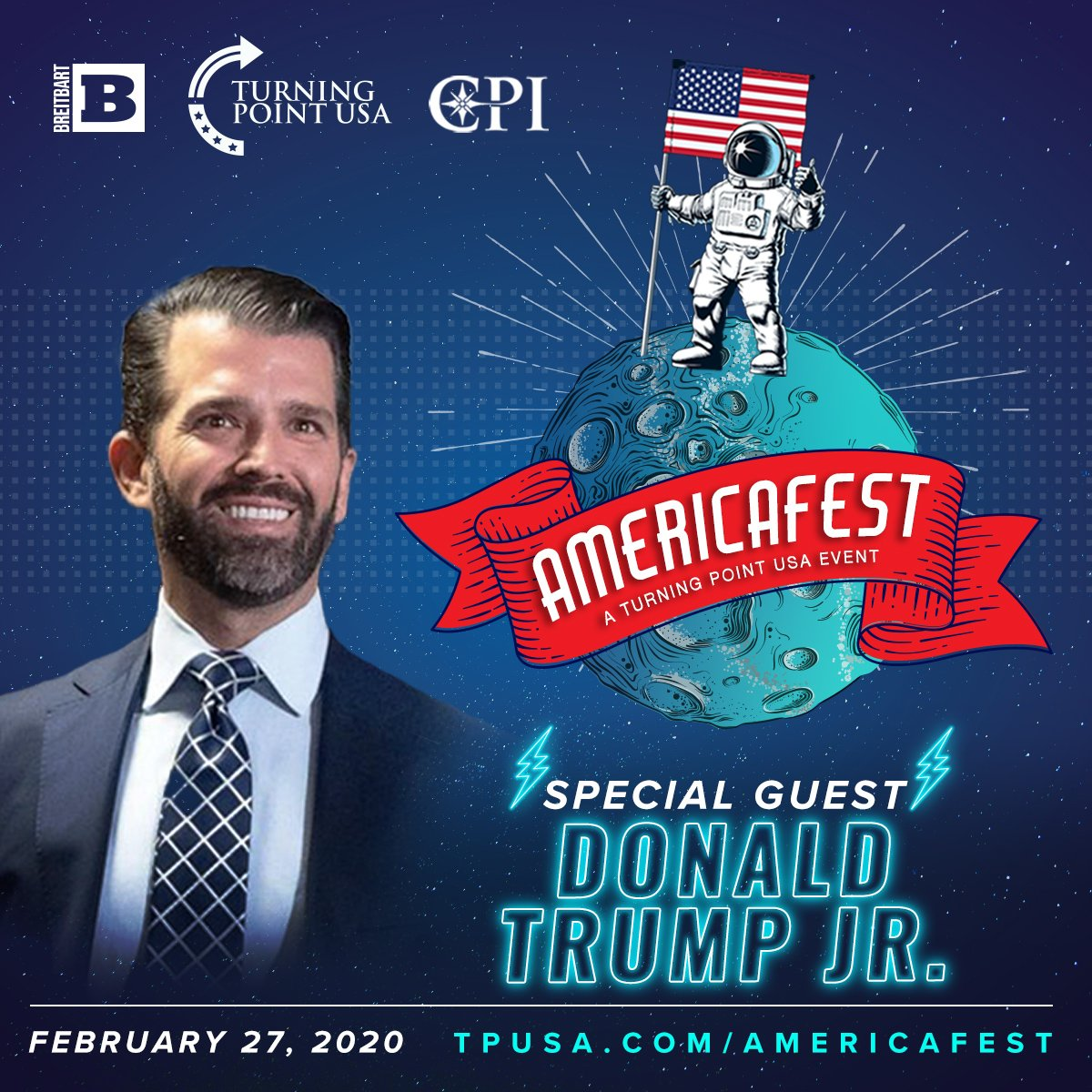 Don't Miss America's Freedom Party & The BIGGEST Party At CPAC! 🇺🇸🇺🇸🇺🇸  Join @TPUSA, @BreitbartNews, & @CPInst At Cadillac Ranch TOMORROW At 7 PM For AmericaFest Featuring Tons Of Special Guests, Including @DonaldJTrumpJr!  Get Your Tickets Today! 👉