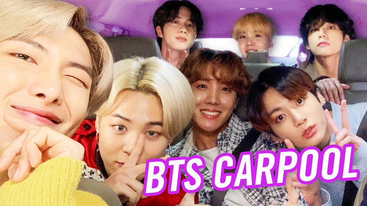 .@BTS_twt and @JKCorden talk nicknames, sing to @BrunoMars, @IAmCardiB & @PostMalone and go to a dance class in the latest episode of #CarpoolKaraoke.  Watch: