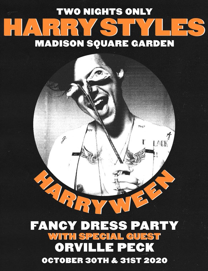 .@Harry_Styles announces two new October tour dates at Madison Square Garden for #Harryween. Fans are encouraged to go in fancy dress.  Verified fan presale begins Monday, March 2nd.