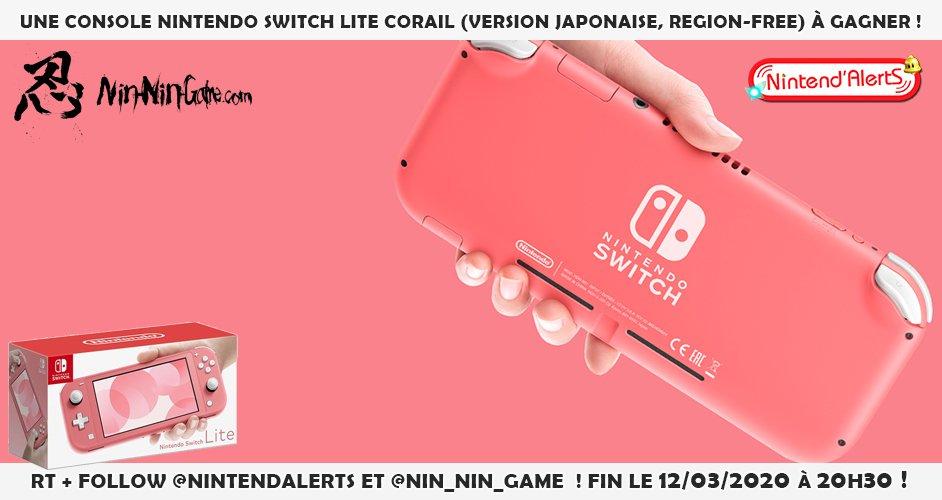 #Concours : Une console Nintendo Switch Lite Corail (Version Japonaise, Region-Free) à gagner ! Follow @nintendalerts + @Nin_Nin_Game et RT ce tweet, tague un ami ! Fin le 12 mars à 20h30. Conditions pour participer au concours ►