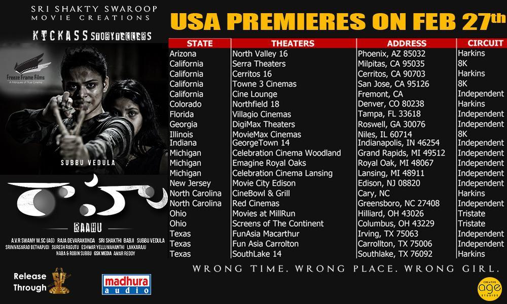Here's the USA Theaters list of edge of the seat thriller #Raahu  Premieres on 27th Feb 👍  Overseas by @FreezeFrameFLLC  @SubbuDirects @AbeRaam @kritigarg15 @madhurasreedhar @SureshProdns