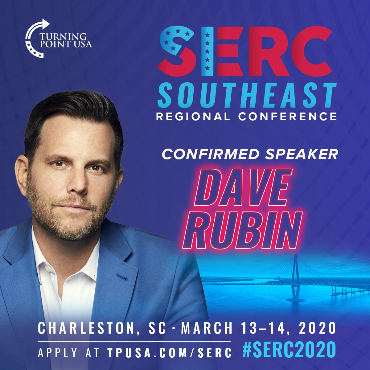 CONFIRMED!  @RubinReport Has Joined The Lineup Of Speakers For TPUSA'S 2020 Southeast Regional Conference! 🇺🇲  Join Us In Charleston, South Carolina For An UNFORGETTABLE Event! #SERC2020  APPLY! 👉