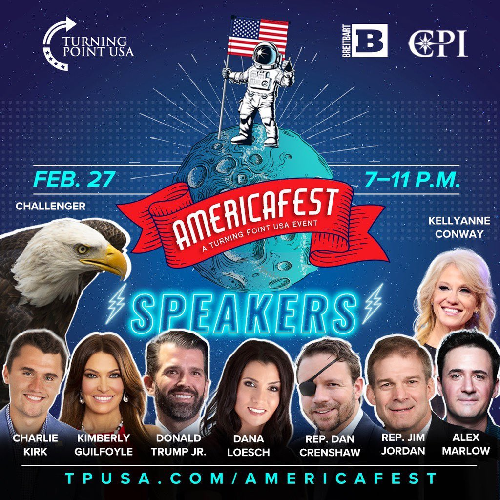 TOMORROW: @TPUSA's AMERICAFEST 🇺🇸  The greatest, most American party in human history. This will be lit🔥   (The guest list includes a bald eagle 🦅🇺🇸💵)   Washington, DC February 27th. Cadillac Ranch. SIGN UP HERE: