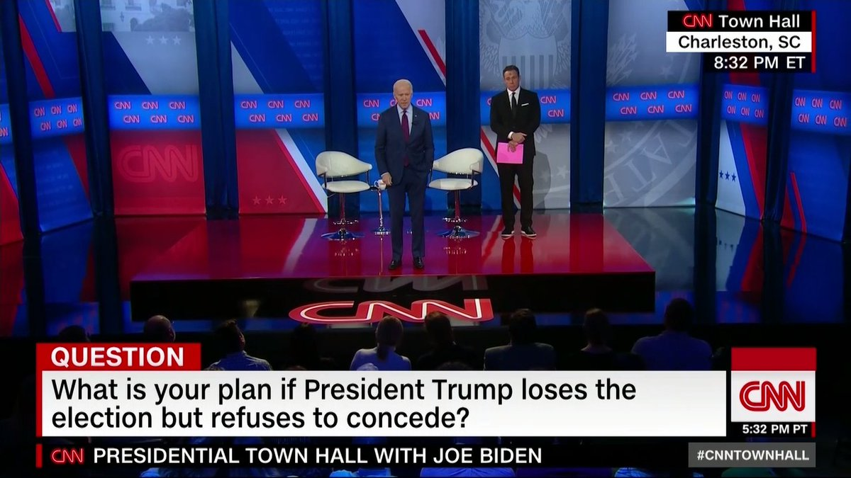 """Q: What would you do if President Trump loses the election but refuses to concede?  Joe Biden: """"I have no worry about him being escorted out of the White House"""" #CNNTownHall"""
