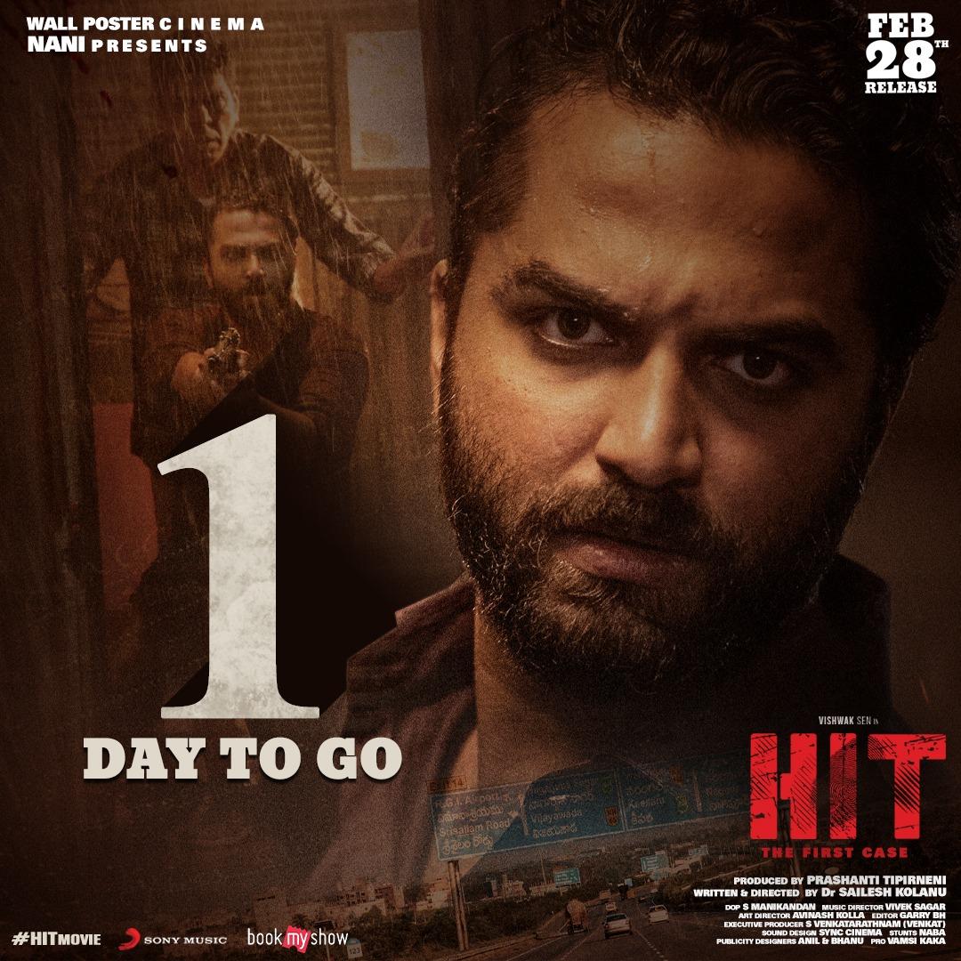 Mystery thriller #HitMovie in theaters from tomorrow!  Book your tickets at   #HITonFeb28th  #VishwakSen @iRuhaniSharma @NameisNani @KolanuSailesh @svr4446 @Garrybh88 @maniDop @PrashantiTipirn #VivekSagar