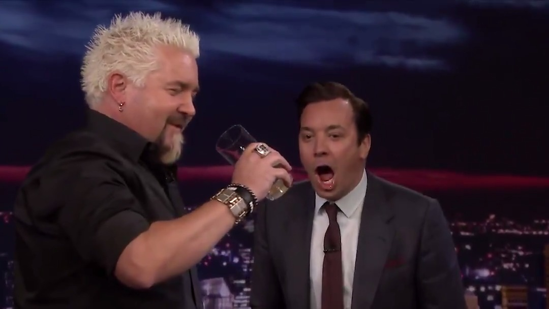 .@GuyFieri faces his fear of eggs by chugging one raw! #FallonTonight