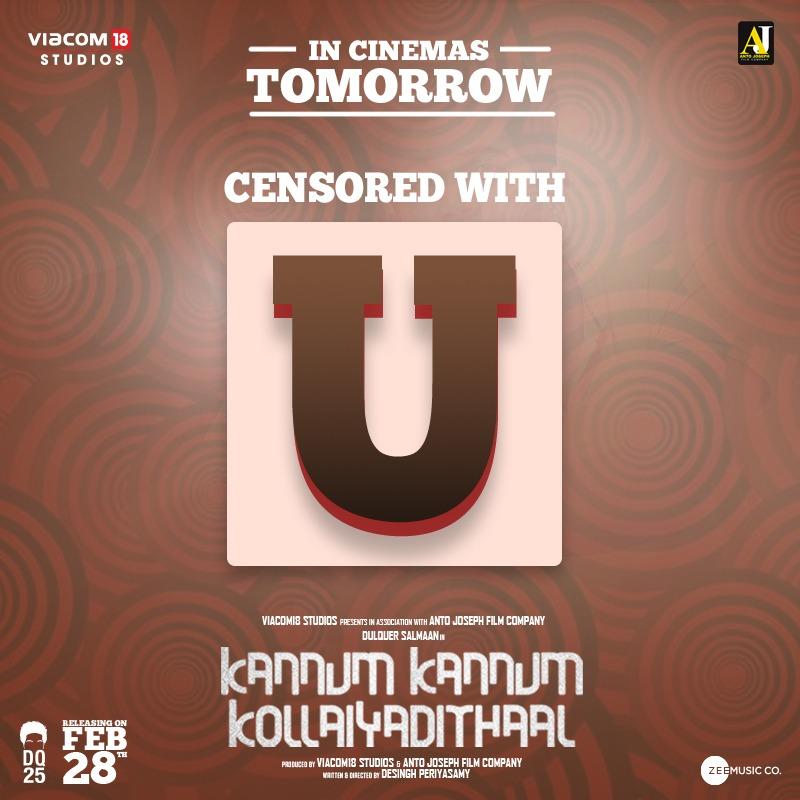 "KannumKannumKollaiyadithaal is censored with clean ""U"" , Reservation underway  #KKKFromTomorrow  @riturv @desingh_dp  @Viacom18Studios @DoneChannel1 @CtcMediaboy"