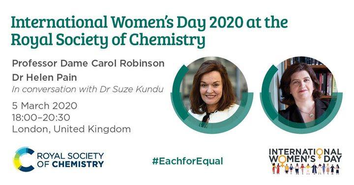There's still time to book your place & join Professor Dame Carol Robinson & Dr Helen Pain as they share their experiences as leaders in the chemical sciences & their vision for the future.  Attendance is free ➡️  #EachforEqual #ChemEquality #womeninscience