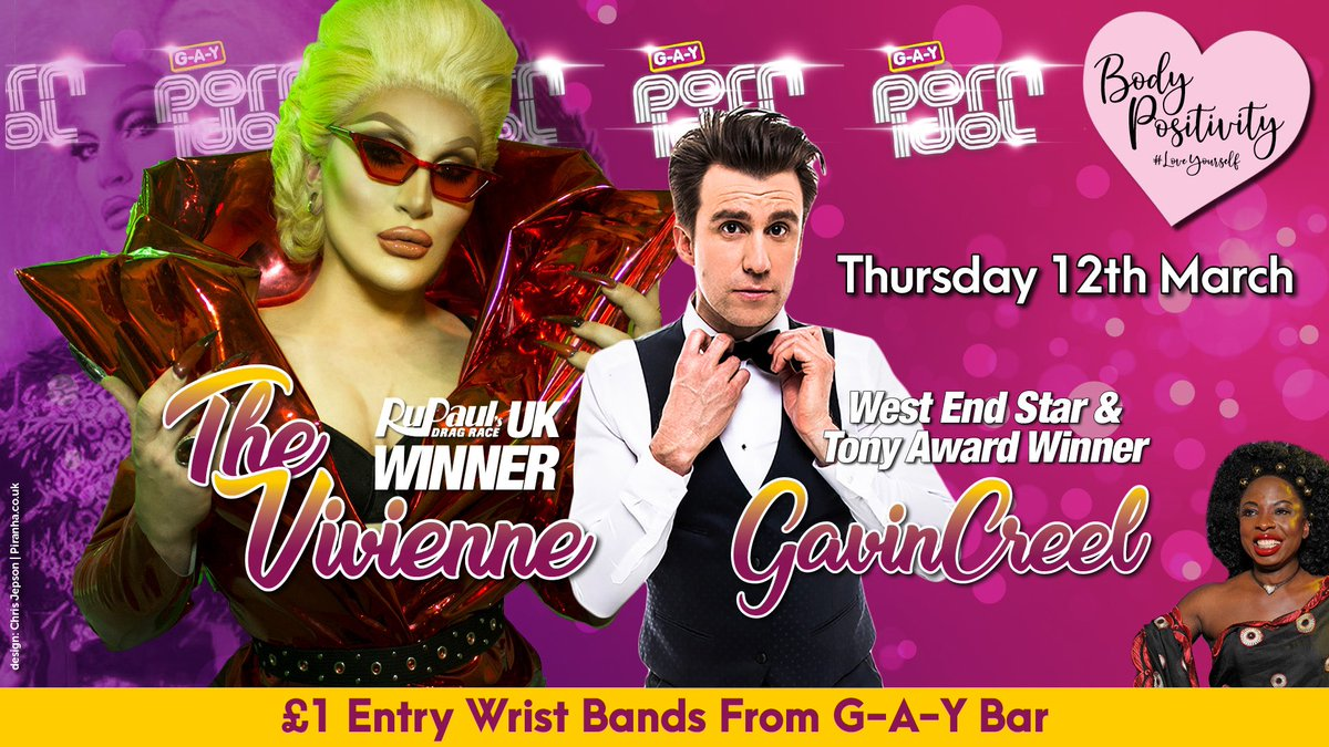 Date For UR Diaries Bitches  Thursday 12th March  G-A-Y Porn Idol  Week 2  @dragraceukbbc Winner @THEVIVIENNEUK  + Olivier & Tony Award-winning actor Currently Starring In @WaitressLondon  @gavincreel  + @SonofaTutu   #DragRace #BodyPositivity #LoveYourself #Heaven40