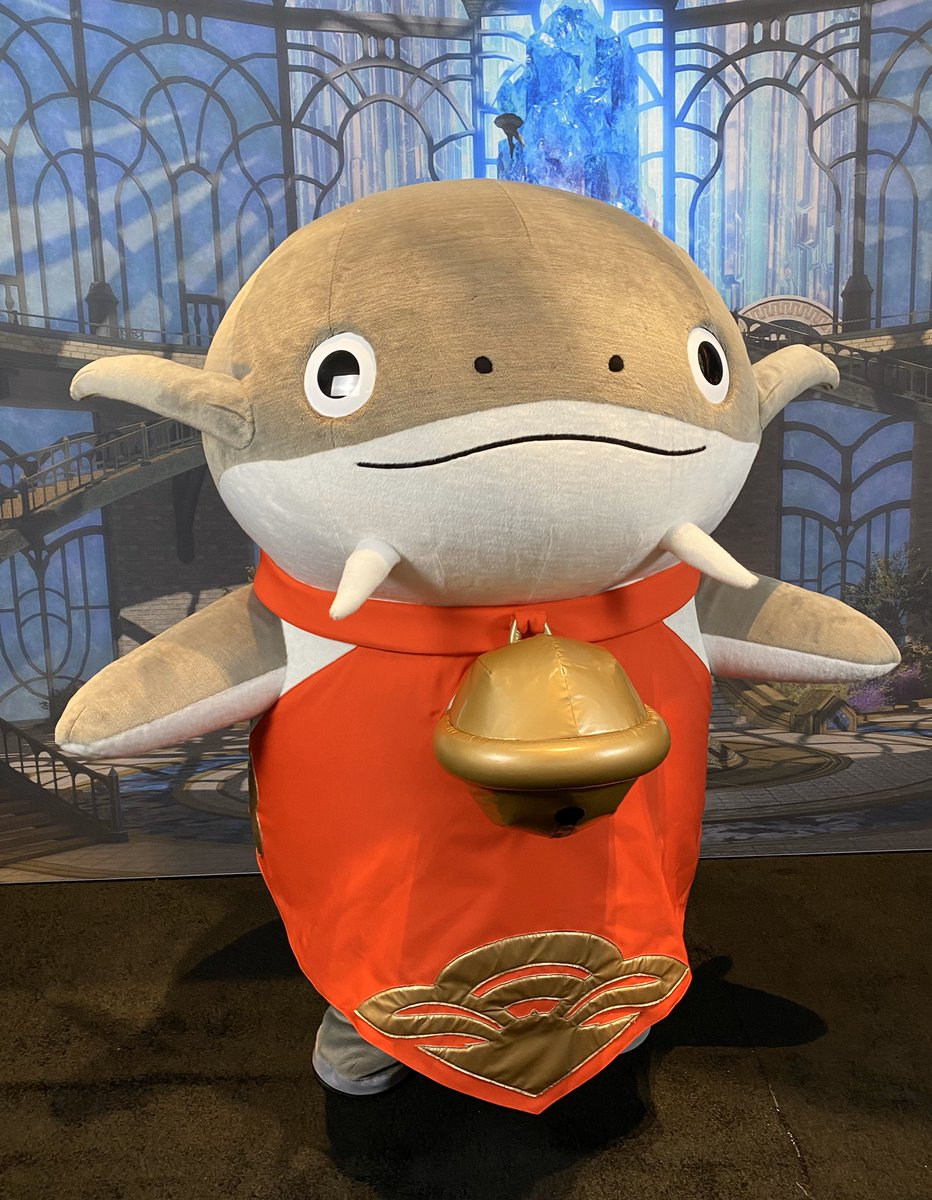 We've been visited by a friendly Namazu at #PAXEast, yes, yes!  Our friend will appear at various times during the show, so keep a look out! #FFXIV