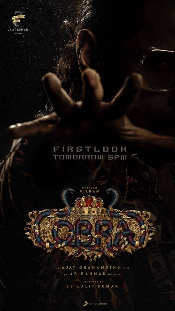 📬🤩Glimpse of Tomorrow's STUNNER🎁♣️.. Team #COBRA🐍 Unveil a half of 🕶🧏‍♂#ChiyaanVikram's One of the Getup🎭 from the Film!  #CobraFirstLook🖼🎩 Celebration is getting HIGH🌡🥳️.. Less🔻 than 23 Hrs to go⌛️!  #CobraFirstLookfromTomorrow📣  #Chiyaan #Vikram @Lalit_SevenScr