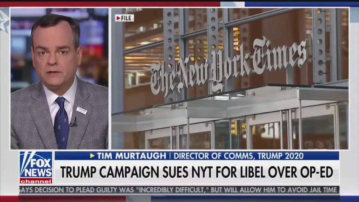 """WATCH: @TimMurtaugh explains why @TeamTrump filed a libel lawsuit against the New York Times.  """"The New York Times knew that was false at the time when they published that piece...they themselves had printed articles that directly contradict what this defamatory piece alleged."""""""