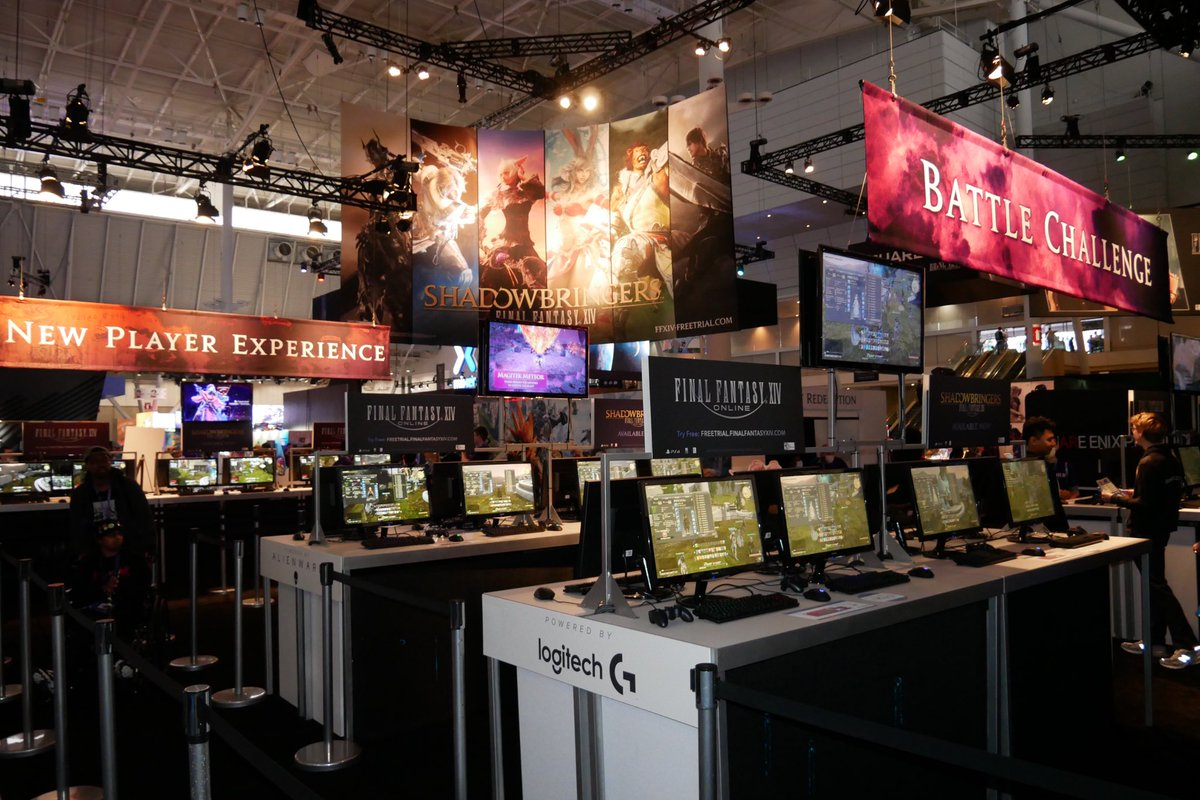 Good morning #PAXEast! Come visit the #FFXIV booth and battle the Ruby Weapon, pose with Shadowbringers weapons, or get some cool swag!   We also have lots of awesome merch for sale next to our booth!