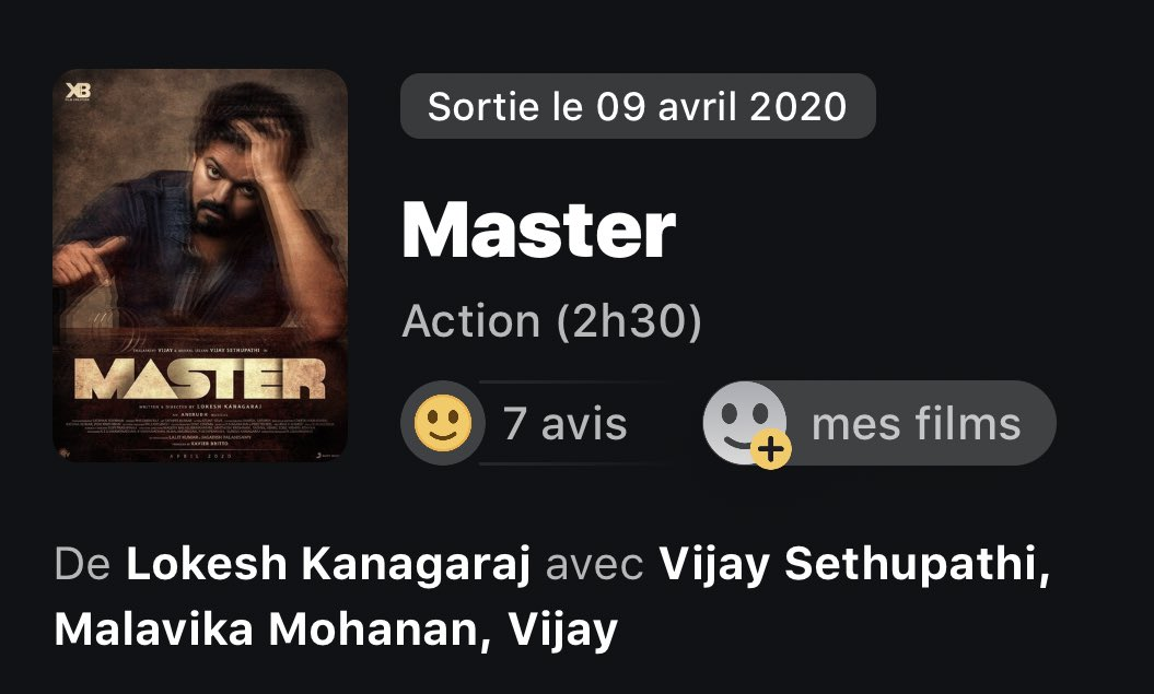 #Master in France, release date announced as April 9, 2020. You can be 100% sure that Master will end Kollywood's blockbuster drought since #Bigil last year by emerging as the first blockbuster of 2020. 👍 #ThalapathyVijay