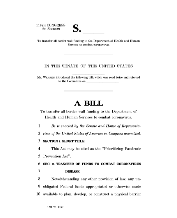 Coronavirus poses a serious health, diplomatic, & economic threat, & we must be prepared to confront it head-on. So I'm introducing a bill to transfer all funding for @realDonaldTrump's racist border wall to @HHSGov & @USAID to combat coronavirus.