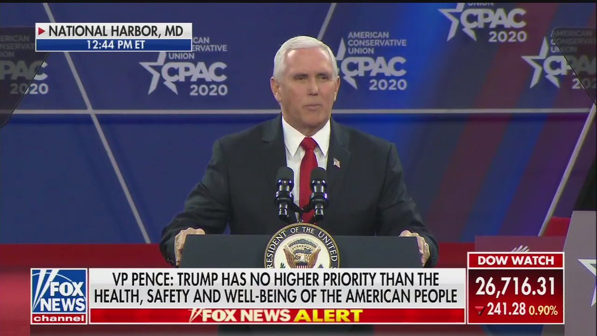 """Vice President Pence to CPAC crowd: """"I'm here for one reason and one reason only. And that is that our movement, our party, and America need four more years of President Donald Trump in the White House."""""""