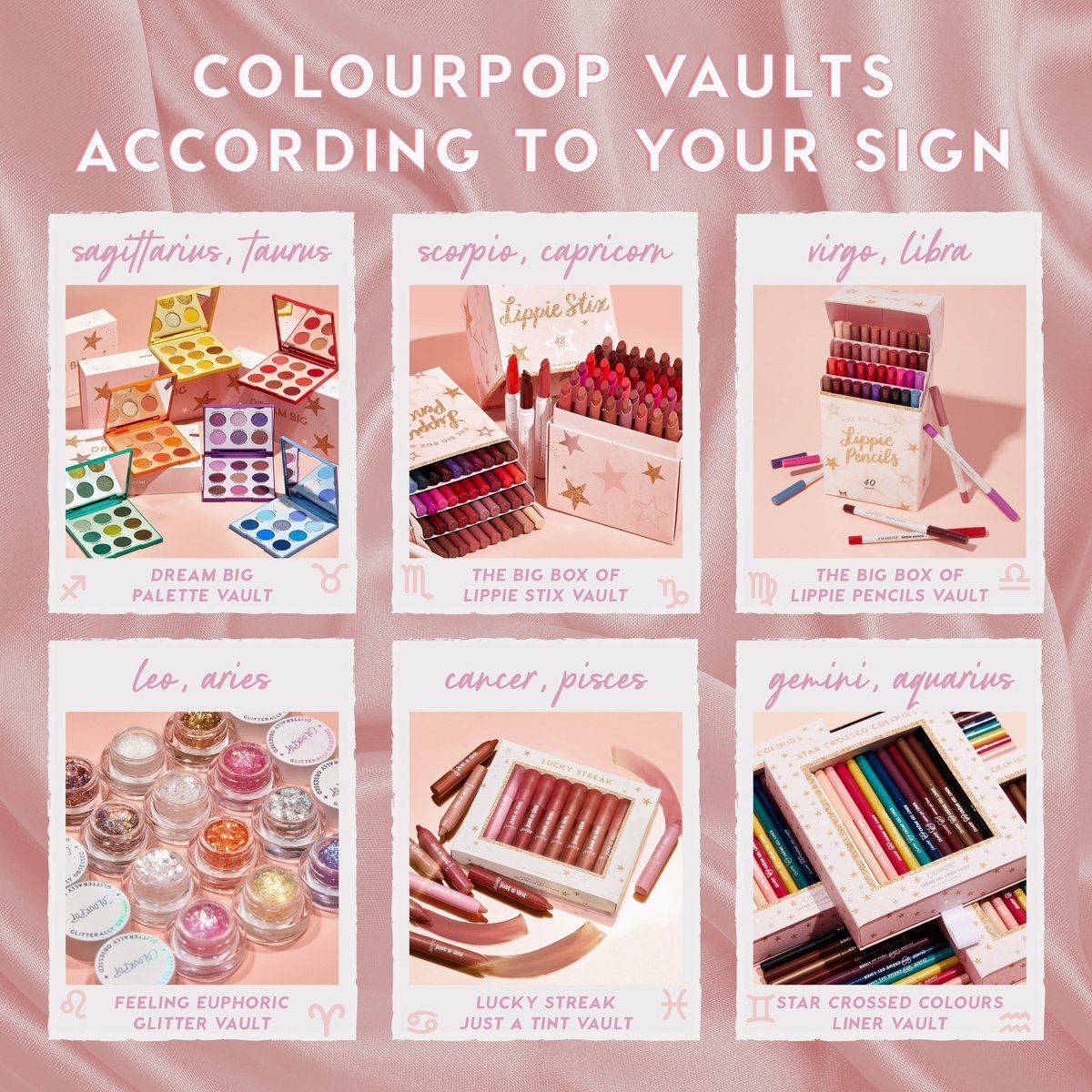 #GIVEAWAY  All of our VAULTS are BACK! & we're giving away ALL SIX VAULTS to one lucky winner! To enter, all you have to do is:  ✨Like & RT ✨Follow @ColourPopCo  ✨reply w/your zodiac sign