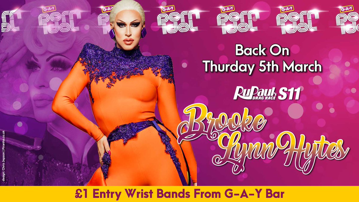 NEXT THURSDAY  G-A-Y Porn Idol Is Back  Guest Judge  @RuPaulsDragRace Season 11 Runner Up  @Bhytes1   Death Drops Terrify Her  So, Strip & Death Drop Naked  Msg 07789 553 868 or info@g-a-y.co.uk  Win £500, £100 or £0  Get £1 Entry Wrist Bands From G-A-Y Bar  #DragRace