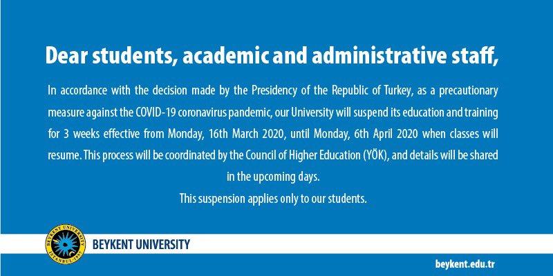 RT @beykentint: Announcement from Rectorate of Beykent University #BeykentUniversity #BeykentInternational https://t.co/q0uA8YRxxc