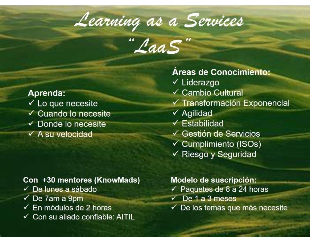 """Pregunte por nuestro servicio """"Learning as a Service"""" y aprenda desde su domicilio. Le ofrecemos una sesión de descubrimiento para generar su mapa de ruta de aprendizaje sin costo. WhatsApp: 51 990247895, email: informacion@aitil.com https://t.co/iMooHBbShj"""