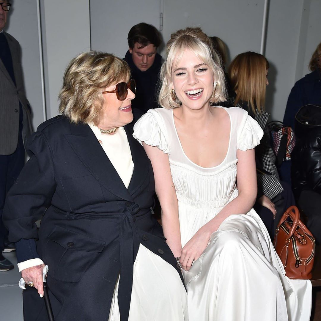 Lucy Boynton and Marianne Faithfull photographed at the Chloé Fashion Show in Paris, 2020.