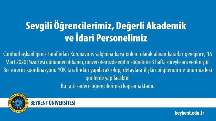 Beykent Üniversitesi Rektörlüğünden Duyuru  #BeykentÜniversitesi https://t.co/rnaxApiegv