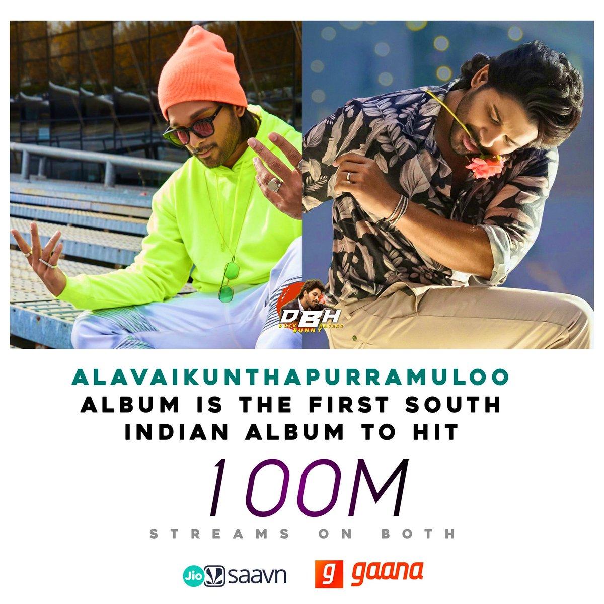 First South Indian album to achieve this feat #AVPLALBUM #avpl #AlaVaikunthapurramuloo ALBUM hits #100million in @JioSaavn @gaana ✊♥️