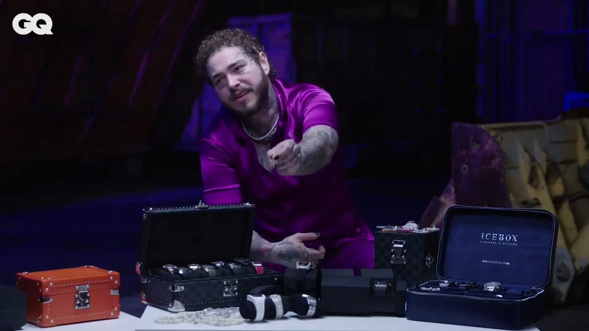 .@PostMalone shows off all of his insane jewelry for #GQOnTheRocks